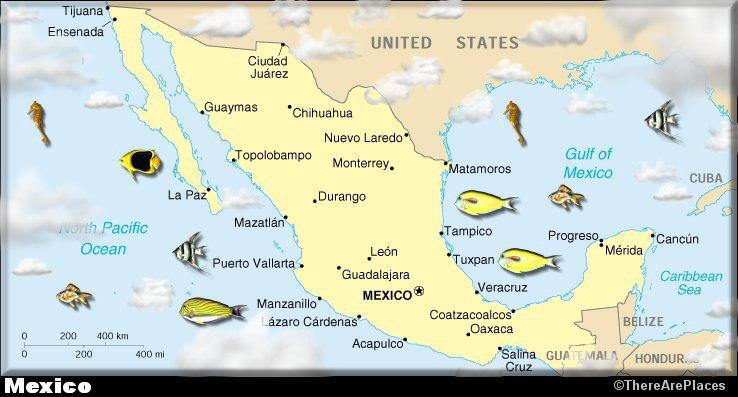 Karmelek Mexico - Major cities map of mexico
